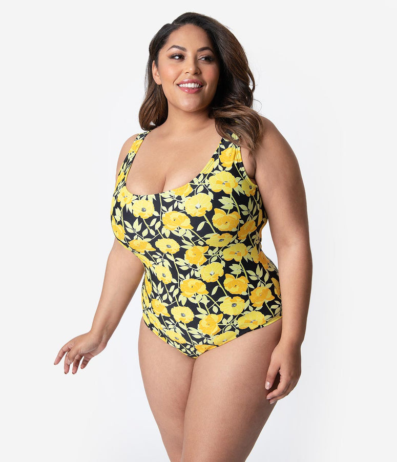 f6ae02c9a5b Unique Vintage Plus Size Mrs. Parker Yellow Poppy Print One Piece Swimsuit