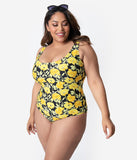 Unique Vintage Plus Size Mrs. Parker Yellow Poppy Print One Piece Swimsuit