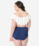 Unique Vintage Plus Size Mrs. Cooper Navy & White Heart Buttons Sailor Swim Shorts