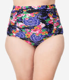 Unique Vintage Plus Size Pink & Purple Floral Print Monroe High Waist Swim Bottom