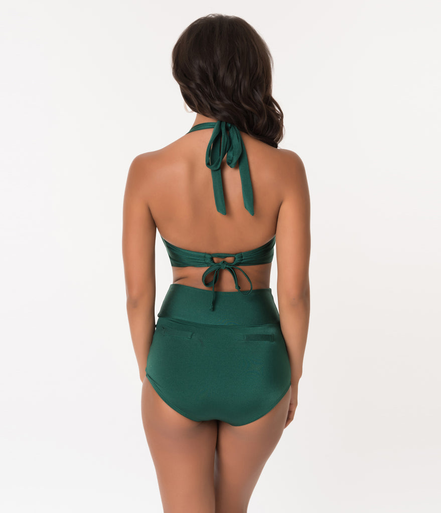 Unique Vintage 1950s Style Mrs. West Forest Green Halter Swim Top