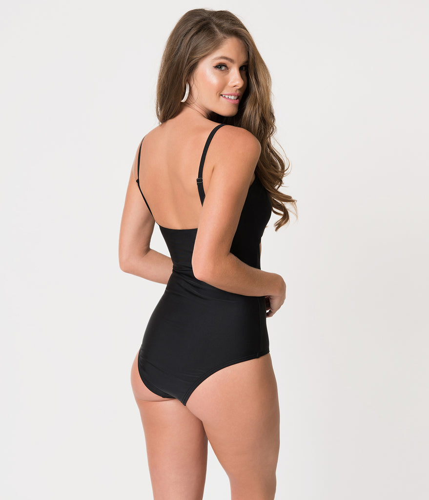 Unique Vintage Solid Black Sweetheart Cut Out Rory Swimsuit
