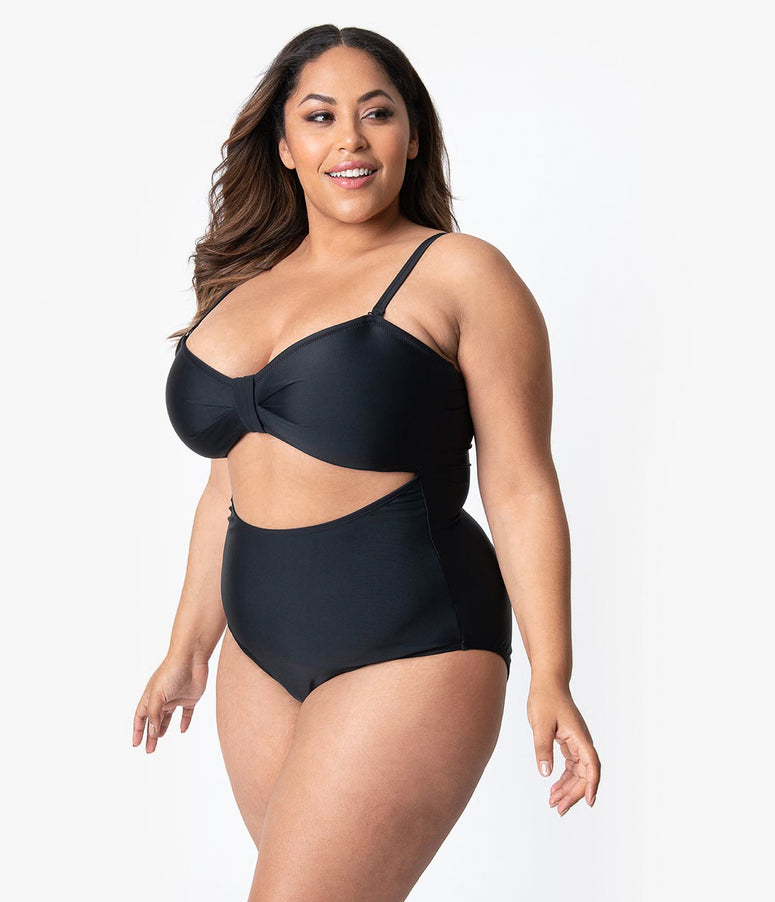 ea8535233e5 Unique Vintage Plus Size Solid Black Sweetheart Cut Out Rory Swimsuit