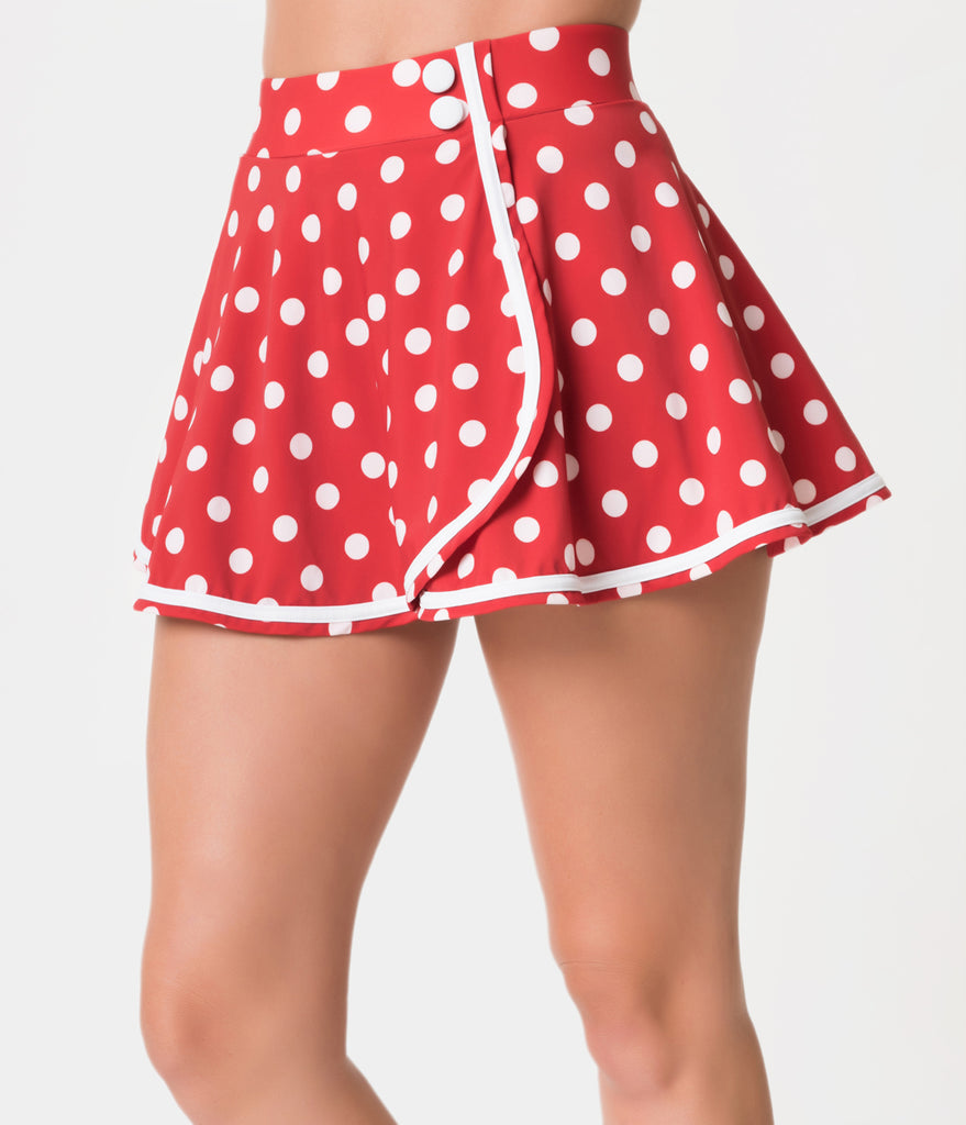 34b7ae23984 Unique Vintage Red & White Dot High Waist Miranda Swim Skirt