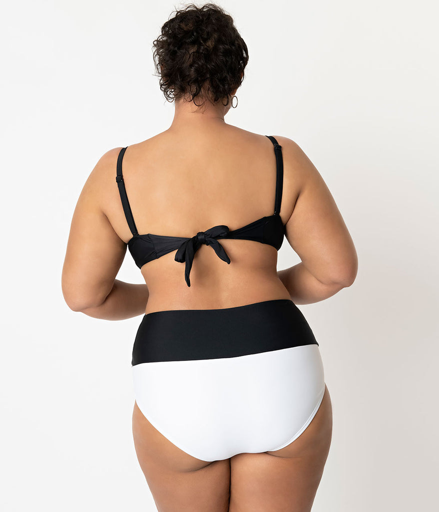 Unique Vintage Plus Size Black & White Colorblock Bow Frankie Swim Bottom