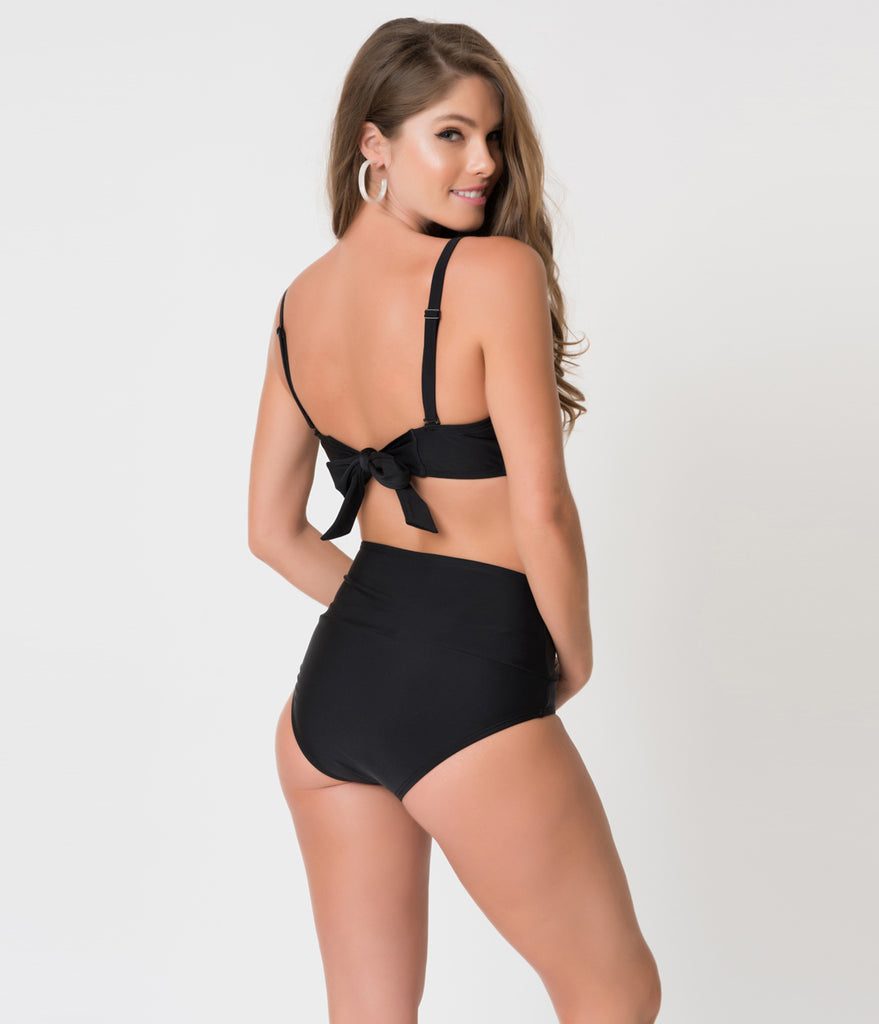 Unique Vintage Black Bow Frankie Swim Bottom