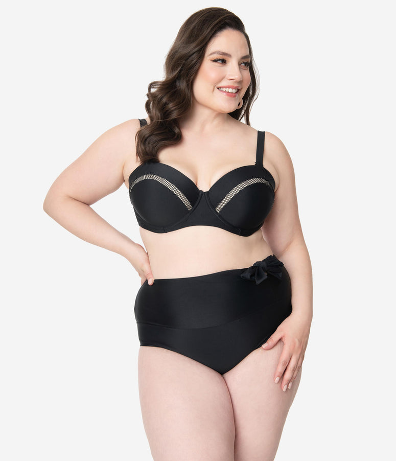 Unique Vintage Plus Size Black Bow Frankie Swim Bottom