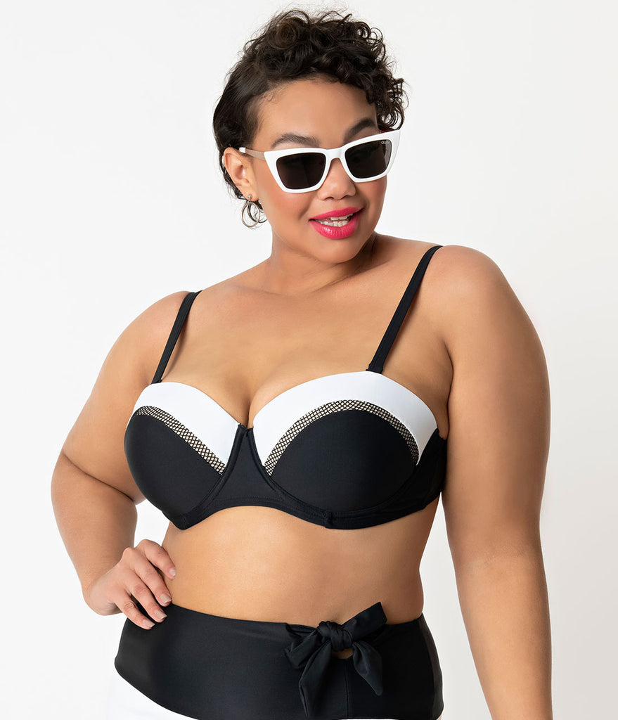 Unique Vintage Plus Size Black & White Colorblock Marianne Bandeau Swim Top