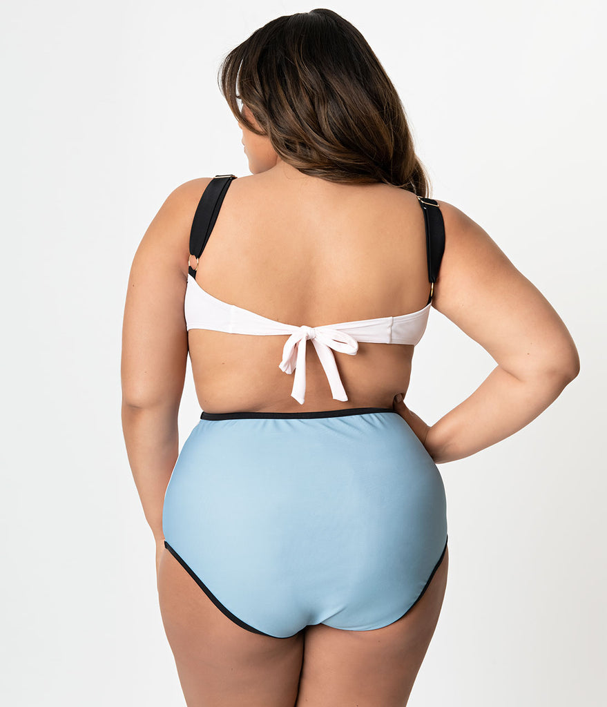 Unique Vintage Plus Size Pink & Blue Colorblock Sweetheart Bandeau Charlene Swim Top