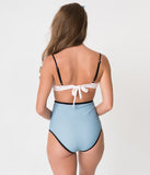 Unique Vintage Pink & Blue Colorblock Cappy High Waist Swim Bottoms