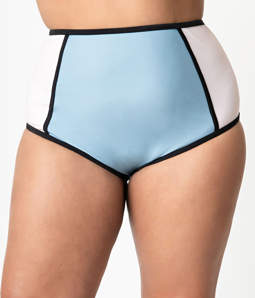 Unique Vintage Plus Size Pink & Blue Colorblock Cappy High Waist Swim Bottoms