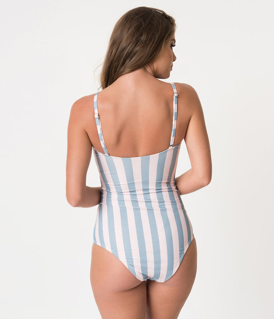 Unique Vintage Pink & Blue Stripe Sweetheart Cut Out Rory Swimsuit