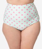Unique Vintage Plus Size Mint & Pink Dot High Waist Louise Swim Bottoms