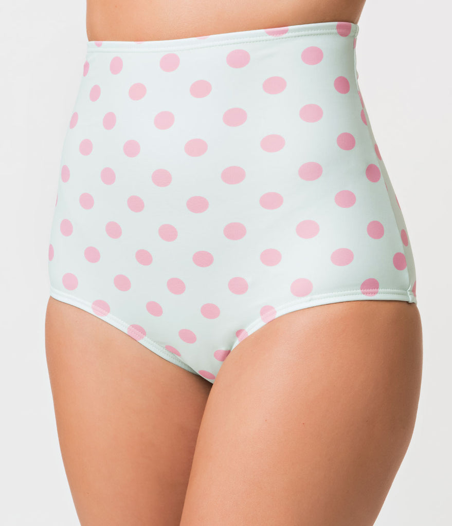 Unique Vintage Mint & Pink Dot High Waist Louise Swim Bottoms