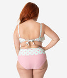 Unique Vintage Plus Size Mint & Pink Dot Ruffled Sweetheart Mrs. Kane Swim Top