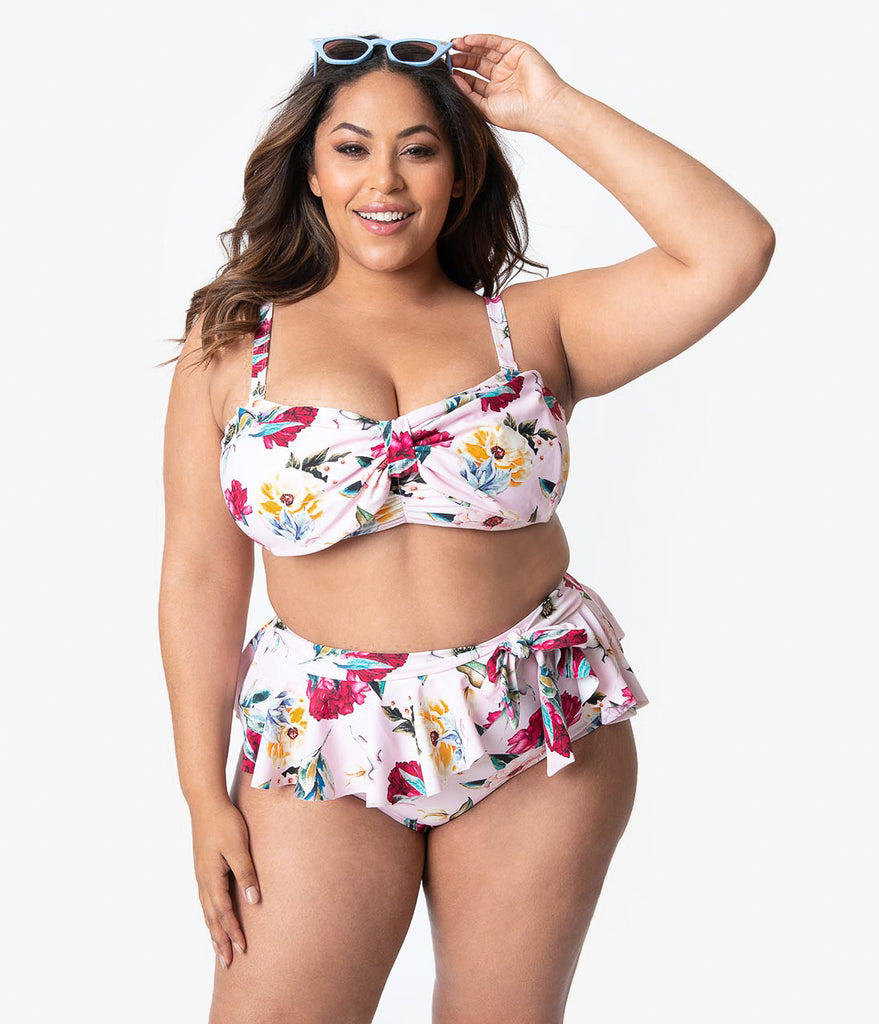 Unique Vintage Plus Size Pink Floral Print Ruffle Wrap High Waist Bonnie Bikini Bottoms