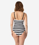 Barbie x Unique Vintage Black & White Chevron Stripe One Piece Bathing Suit