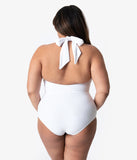 Unique Vintage Plus Size White Halter Shirred Derek One Piece Swimsuit