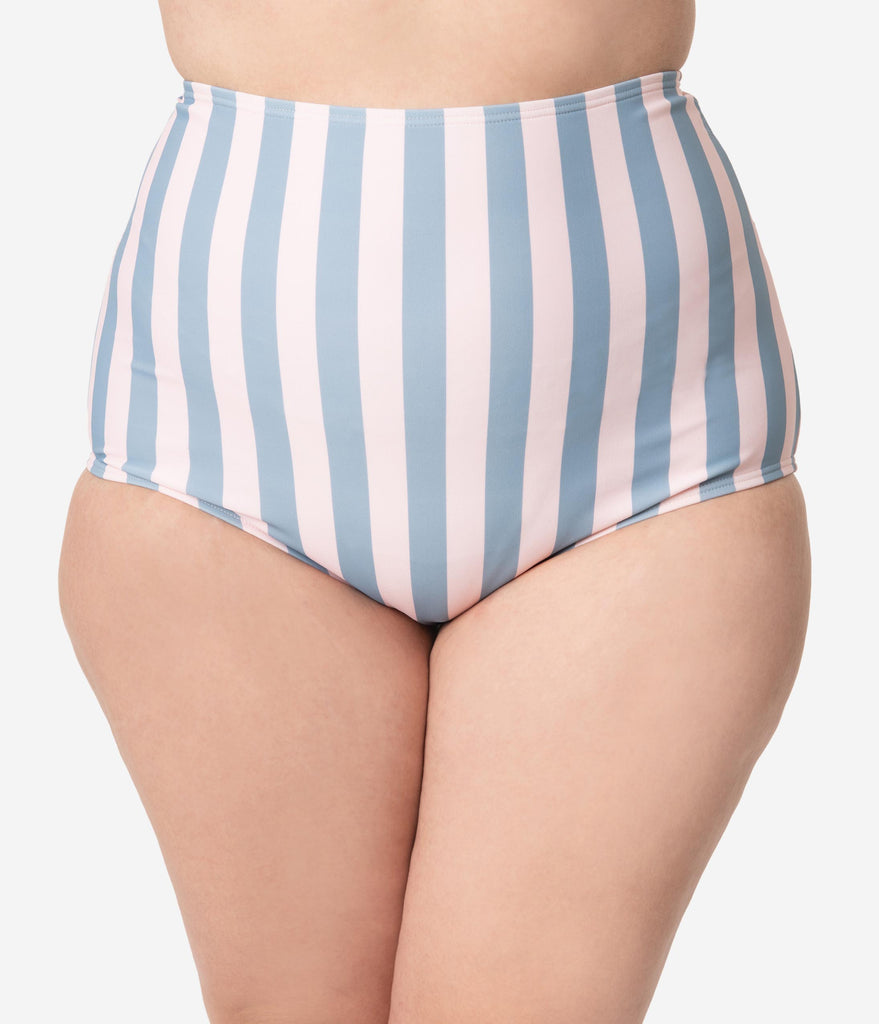 Unique Vintage Plus Size Pink & Blue Stripe High Waist Louise Swim Bottoms