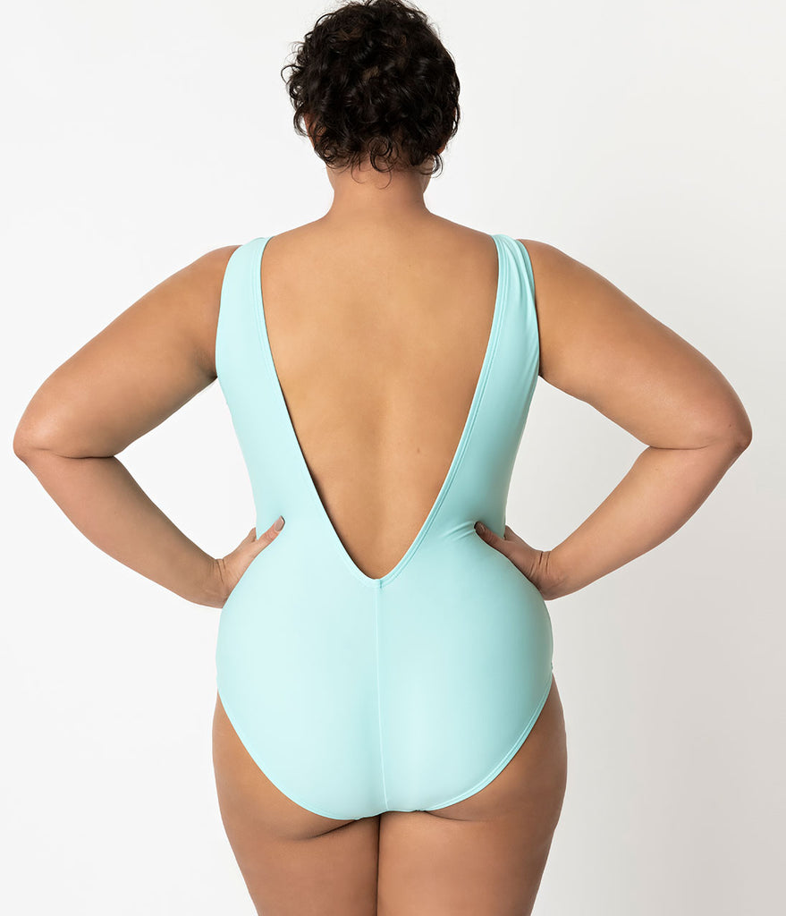 Barbie x Unique Vintage Plus Size Light Blue Malibu Barbie Swimsuit