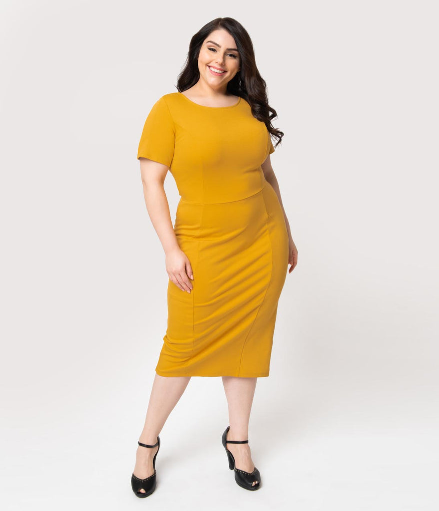 Unique Vintage Plus Size 1960s Mustard Yellow Short Sleeve Stretch Mod Wiggle Dress