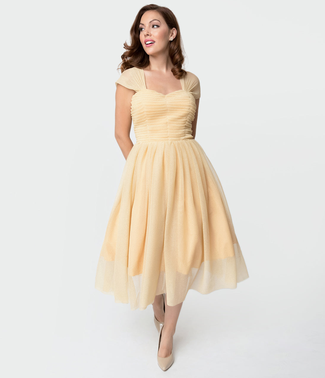 1950s Dresses, 50s Dresses | 1950s Style Dresses Unique Vintage Champagne  Gold Glitter Garden State Mesh Cocktail Dress $118.00 AT vintagedancer.com