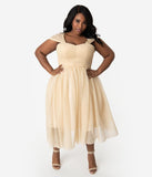 Unique Vintage Plus Size Champagne & Gold Glitter Garden State Mesh Cocktail Dress
