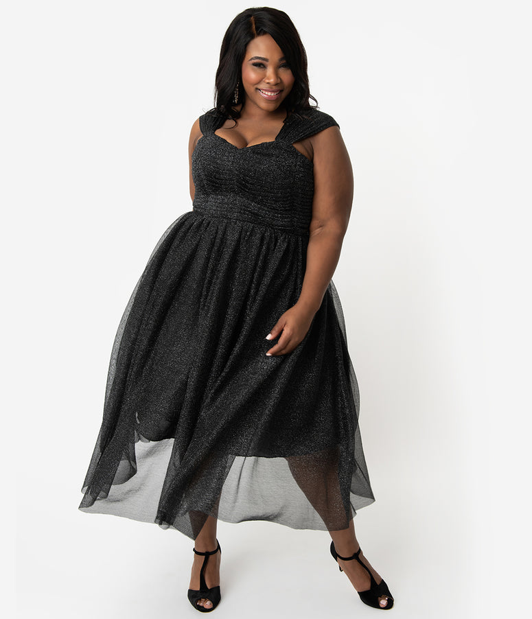 Unique Vintage Plus Size Black & Silver Glitter Garden State Mesh Cocktail Dress