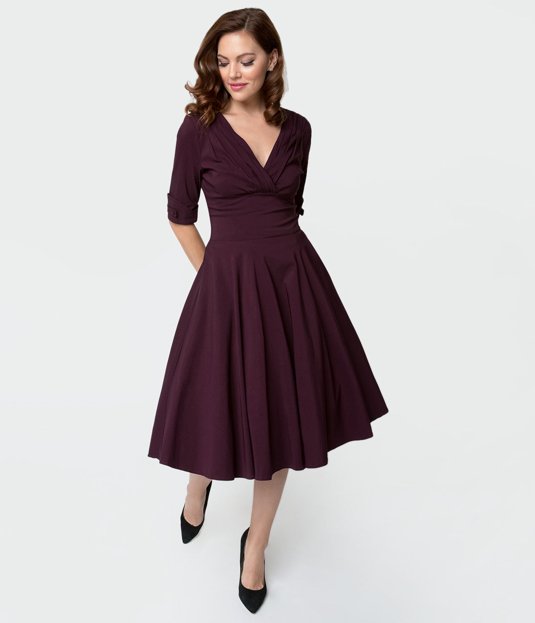 1950s Dresses, 50s Dresses | 1950s Style Dresses Unique Vintage 1950S Eggplant Purple Delores Swing Dress With Sleeves $88.00 AT vintagedancer.com