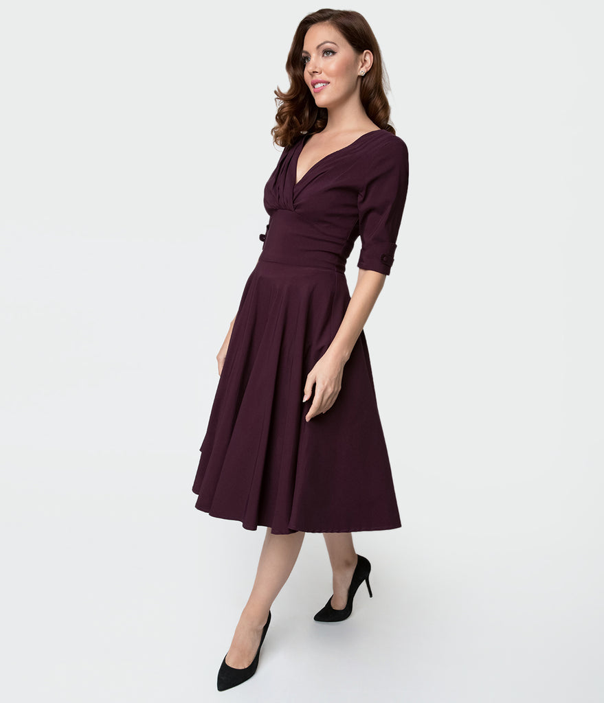 Unique Vintage 1950s Eggplant Purple Delores Swing Dress with Sleeves