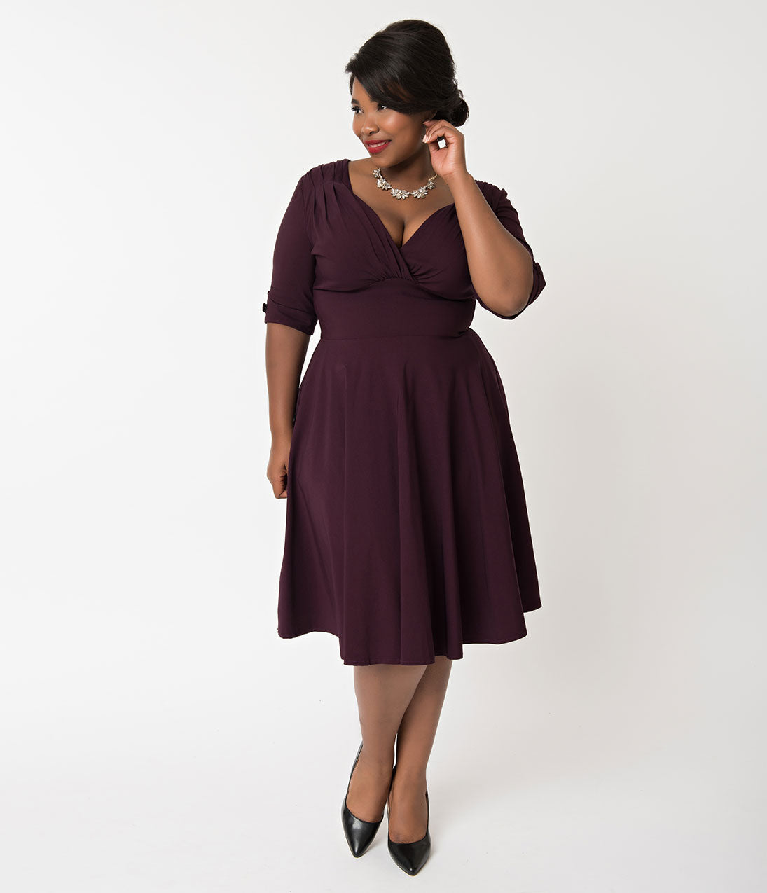 1950s Plus Size Dresses, Swing Dresses Unique Vintage Plus Size 1950S Eggplant Purple Delores Swing Dress With Sleeves $88.00 AT vintagedancer.com