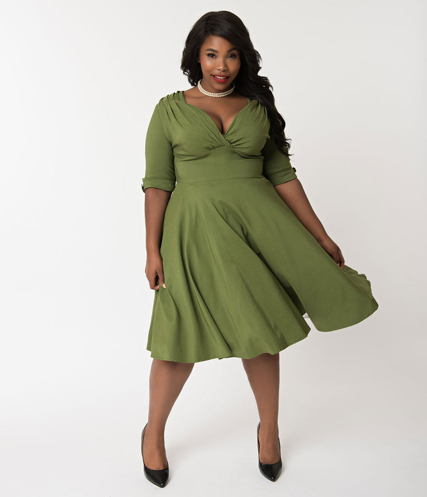 Unique Vintage Plus Size 1950s Moss Green Delores Swing Dress with Sleeves
