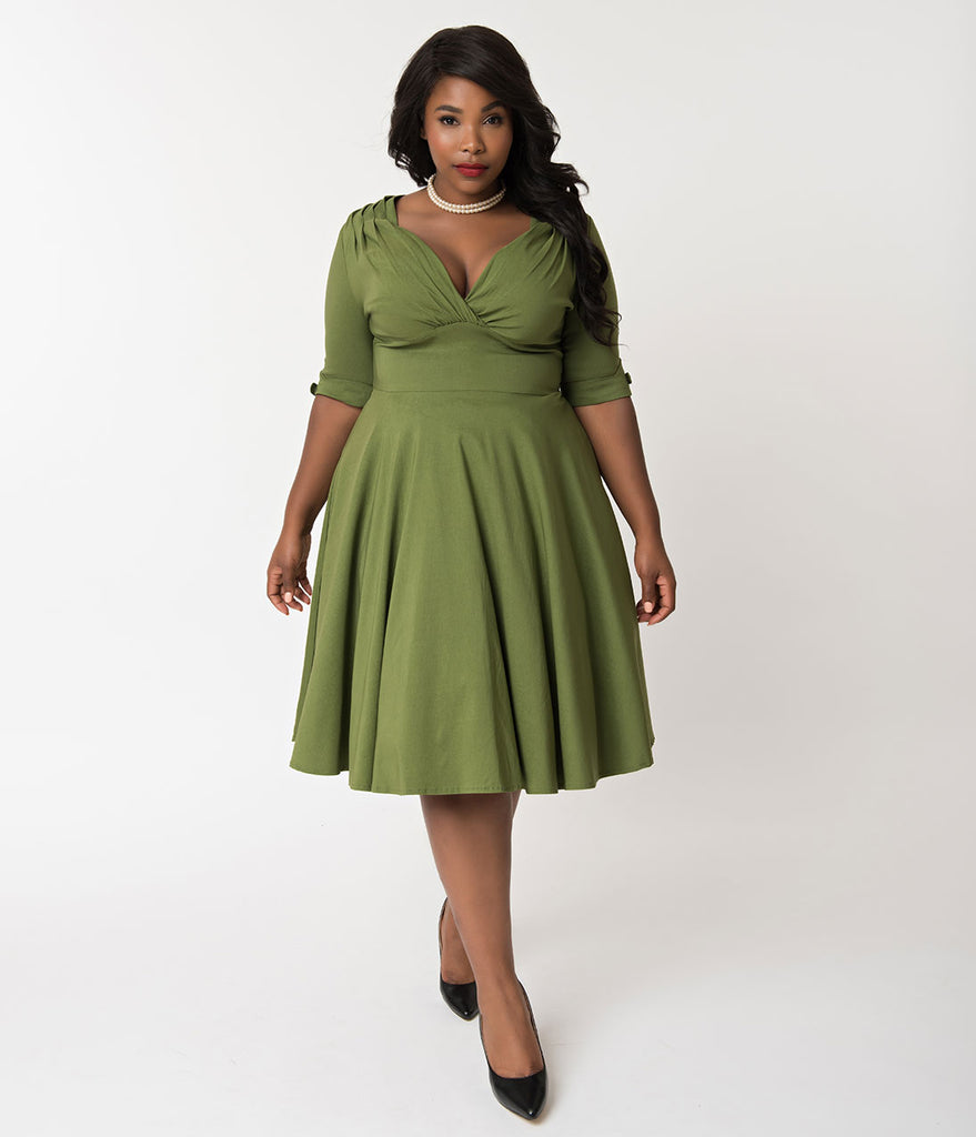 ba681832fb ... Unique Vintage Plus Size 1950s Moss Green Delores Swing Dress with  Sleeves ...