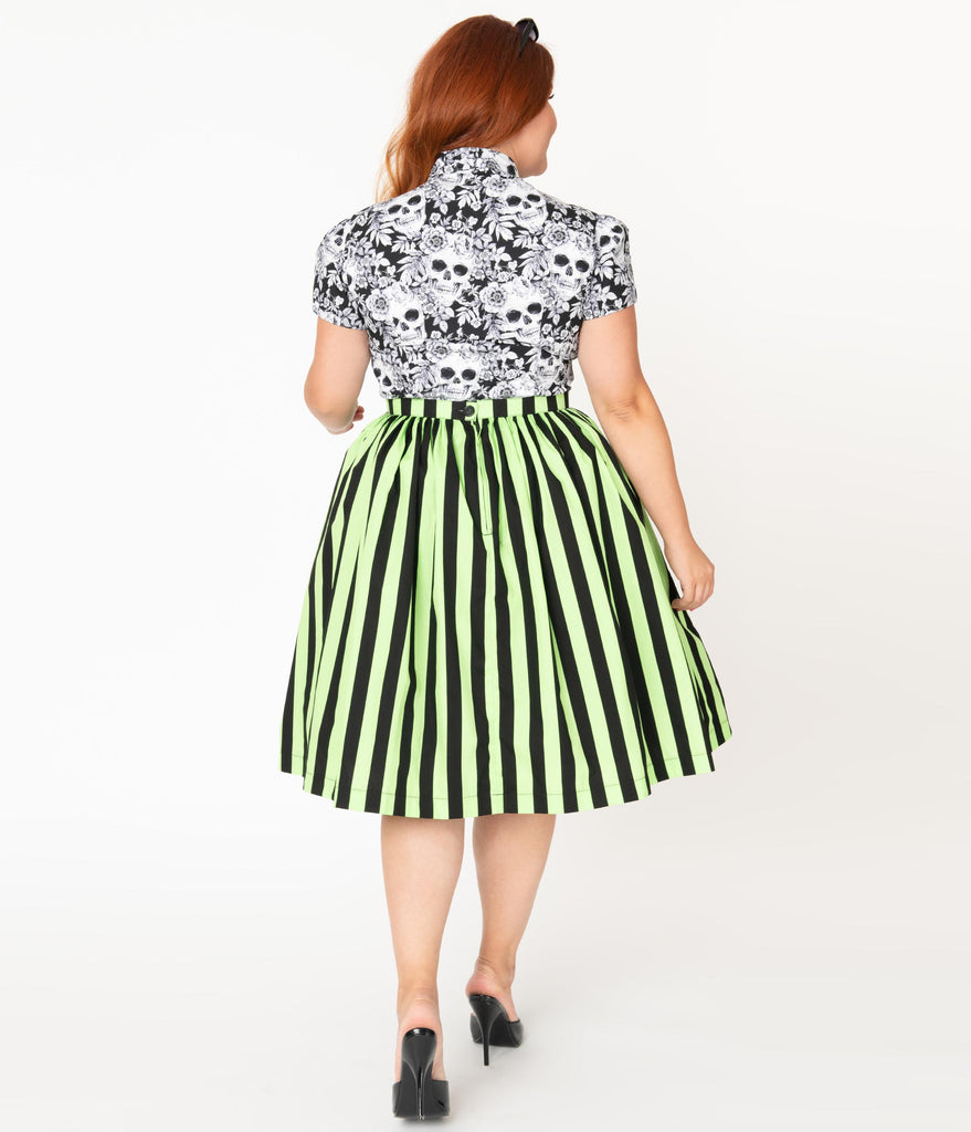 Plus Size Neon Green & Black Striped Gathered Cotton Swing Skirt