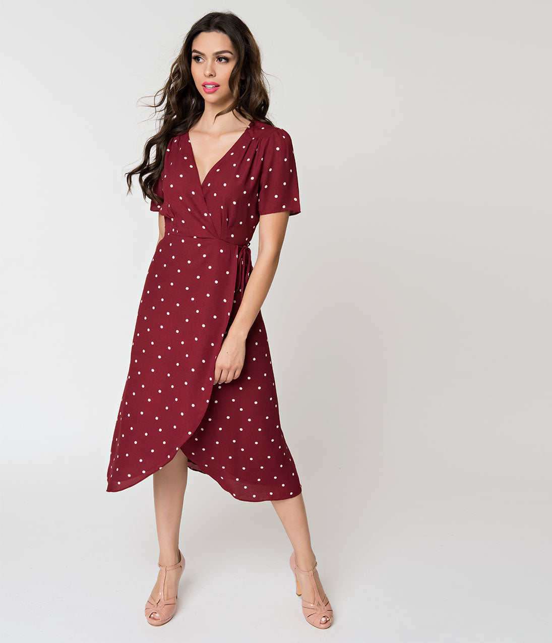 Polka Dot Dresses: 20s, 30s, 40s, 50s, 60s Burgundy  White Polka Dot High Low Wrap Dress $58.00 AT vintagedancer.com