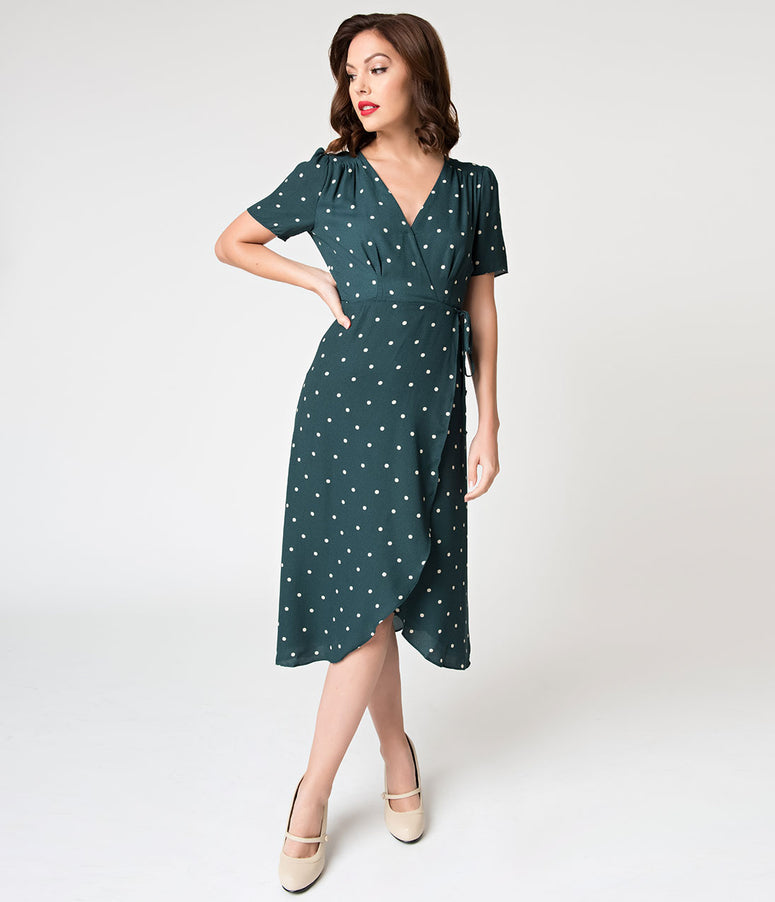 Hunter Green & White Polka Dot High Low Wrap Dress