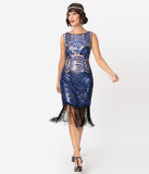 Unique Vintage Beige & Royal Blue Sequin Rouen Fringe Flapper Dress