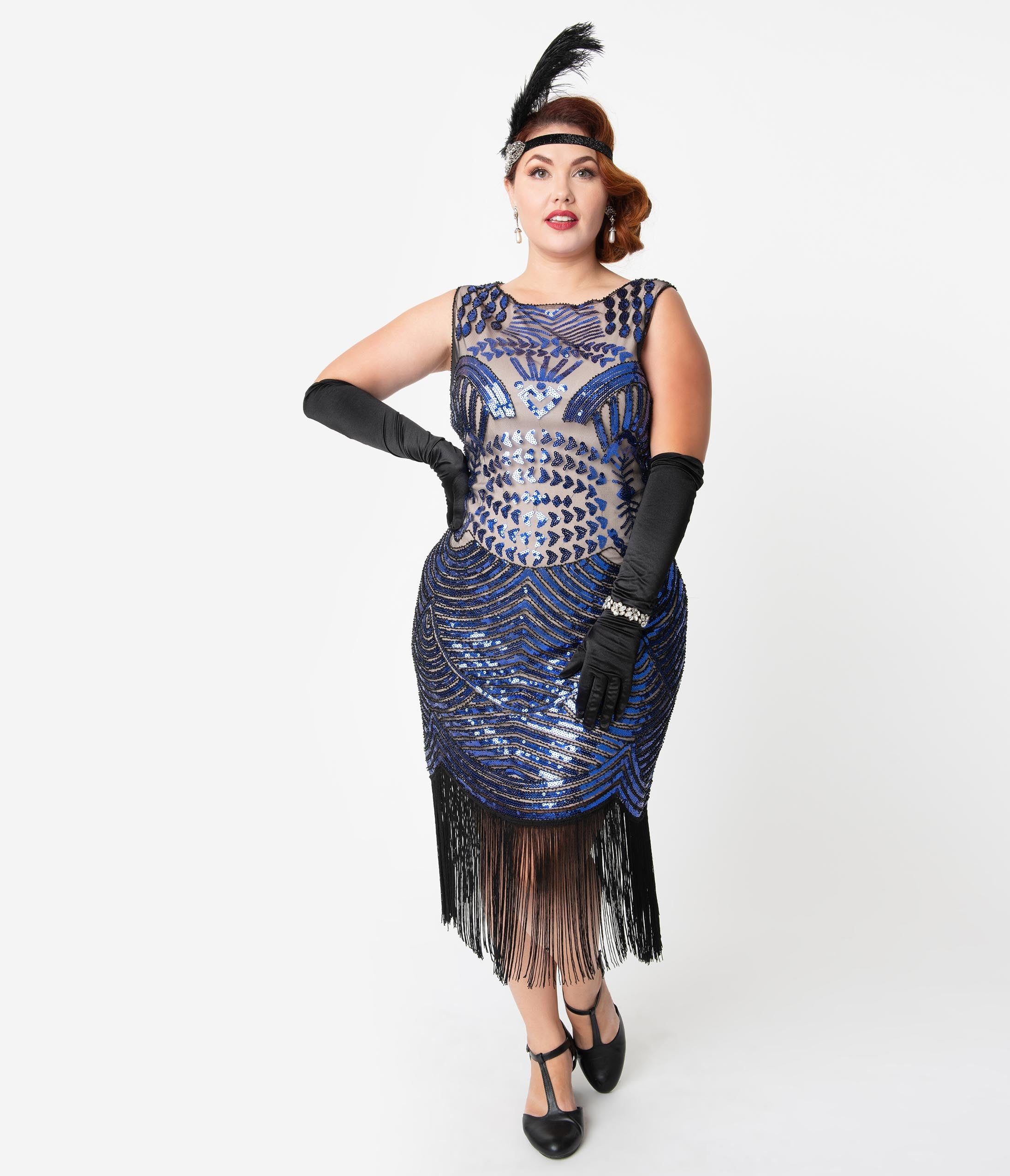 1920s Costumes: Flapper, Great Gatsby, Gangster Girl Unique Vintage Plus Size Beige  Royal Blue Sequin Rouen Fringe Flapper Dress $98.00 AT vintagedancer.com