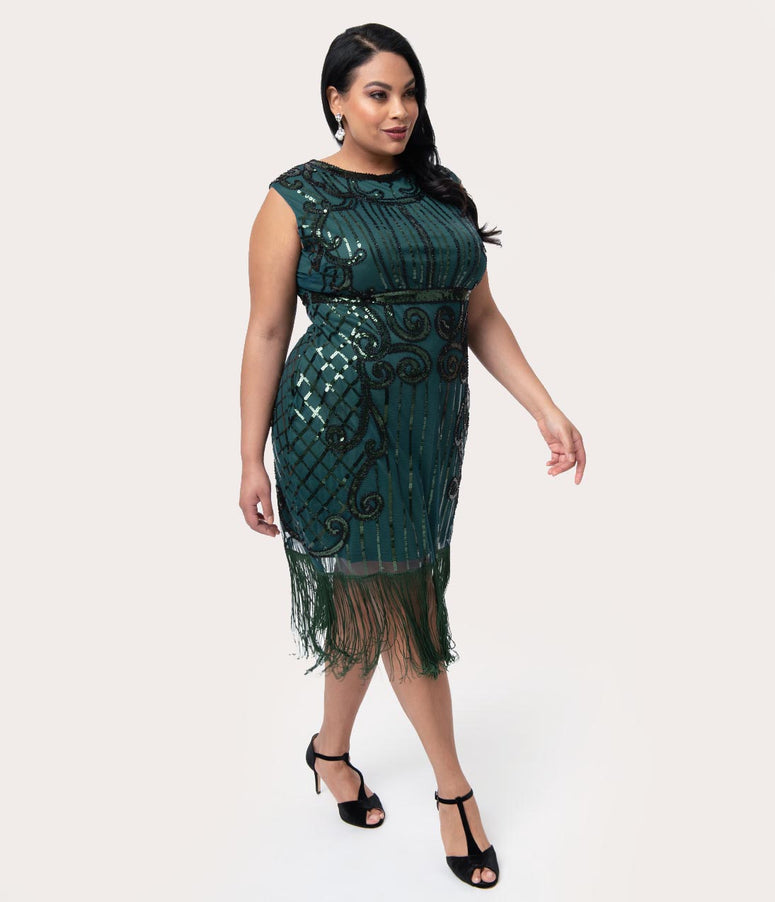 Unique Vintage Plus Size 1920s Style Green & Black Beaded Avignon Flapper Dress