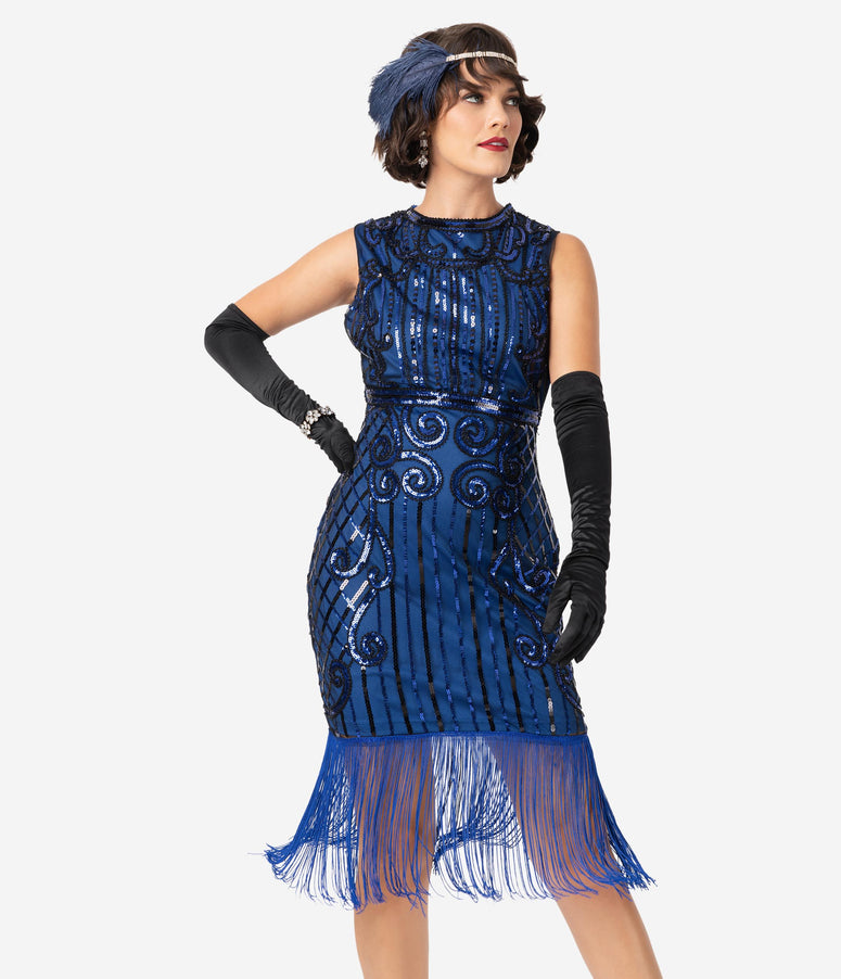 Unique Vintage 1920s Style Blue & Black Beaded Avignon Flapper Dress