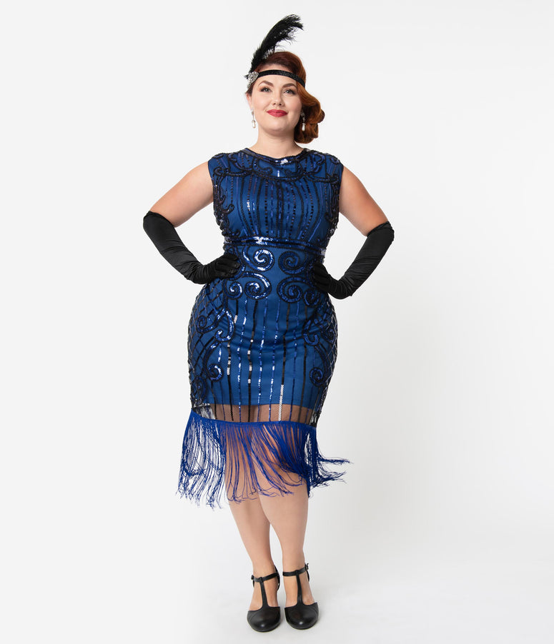 Unique Vintage Plus Size 1920s Style Blue & Black Beaded Avignon Flapper Dress
