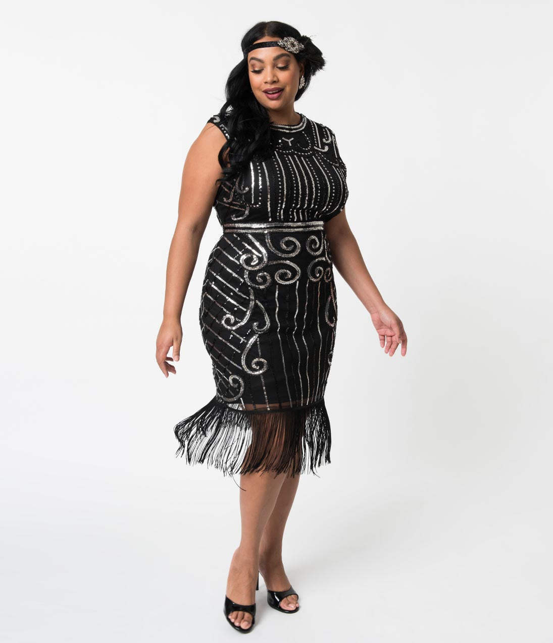 39c9cfd5b8bd8c Unique Vintage Plus Size 1920s Style Black & Silver Beaded Avignon Flapper  Dress