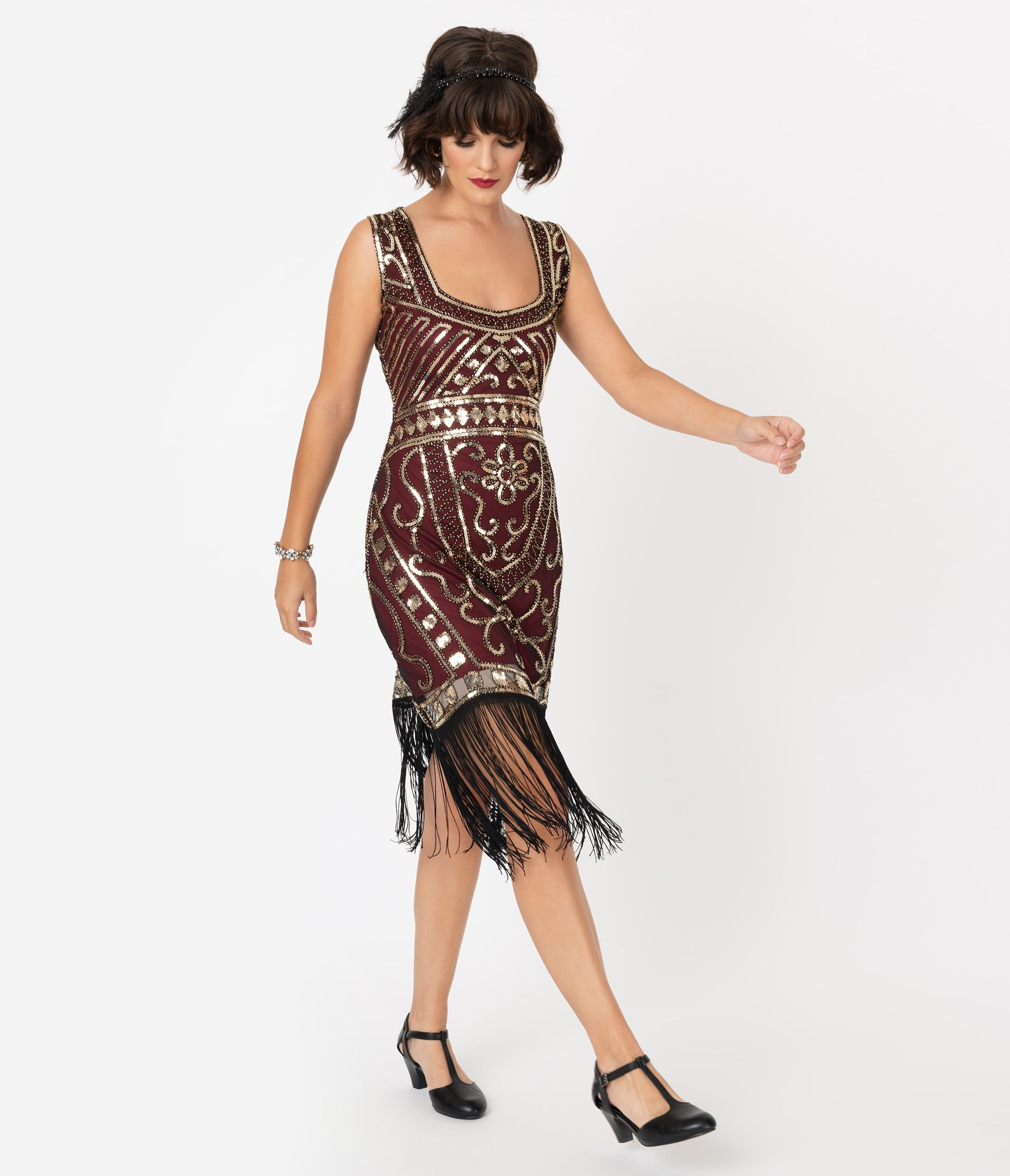 1920s Costumes: Flapper, Great Gatsby, Gangster Girl Unique Vintage 1920S Burgundy  Gold Sequin Pernelle Flapper Dress $98.00 AT vintagedancer.com