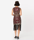 Unique Vintage 1920s Burgundy & Gold Sequin Pernelle Flapper Dress