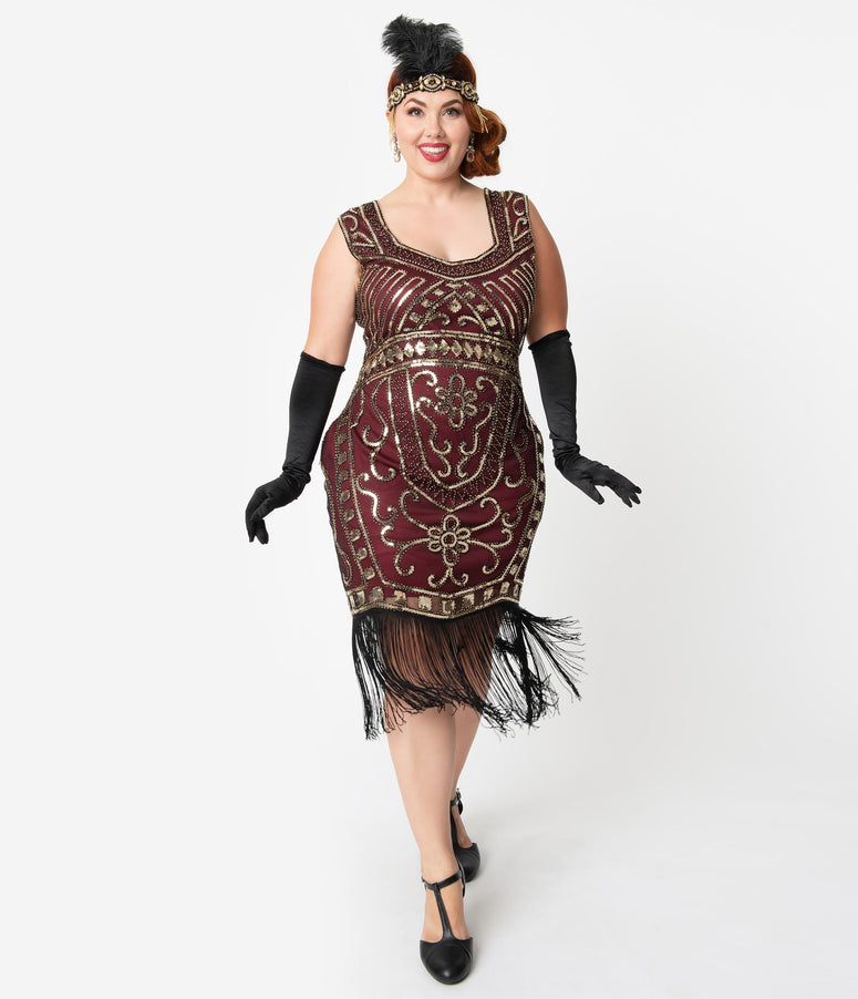 Unique Vintage Plus Size 1920s Burgundy & Gold Sequin Pernelle Flapper Dress