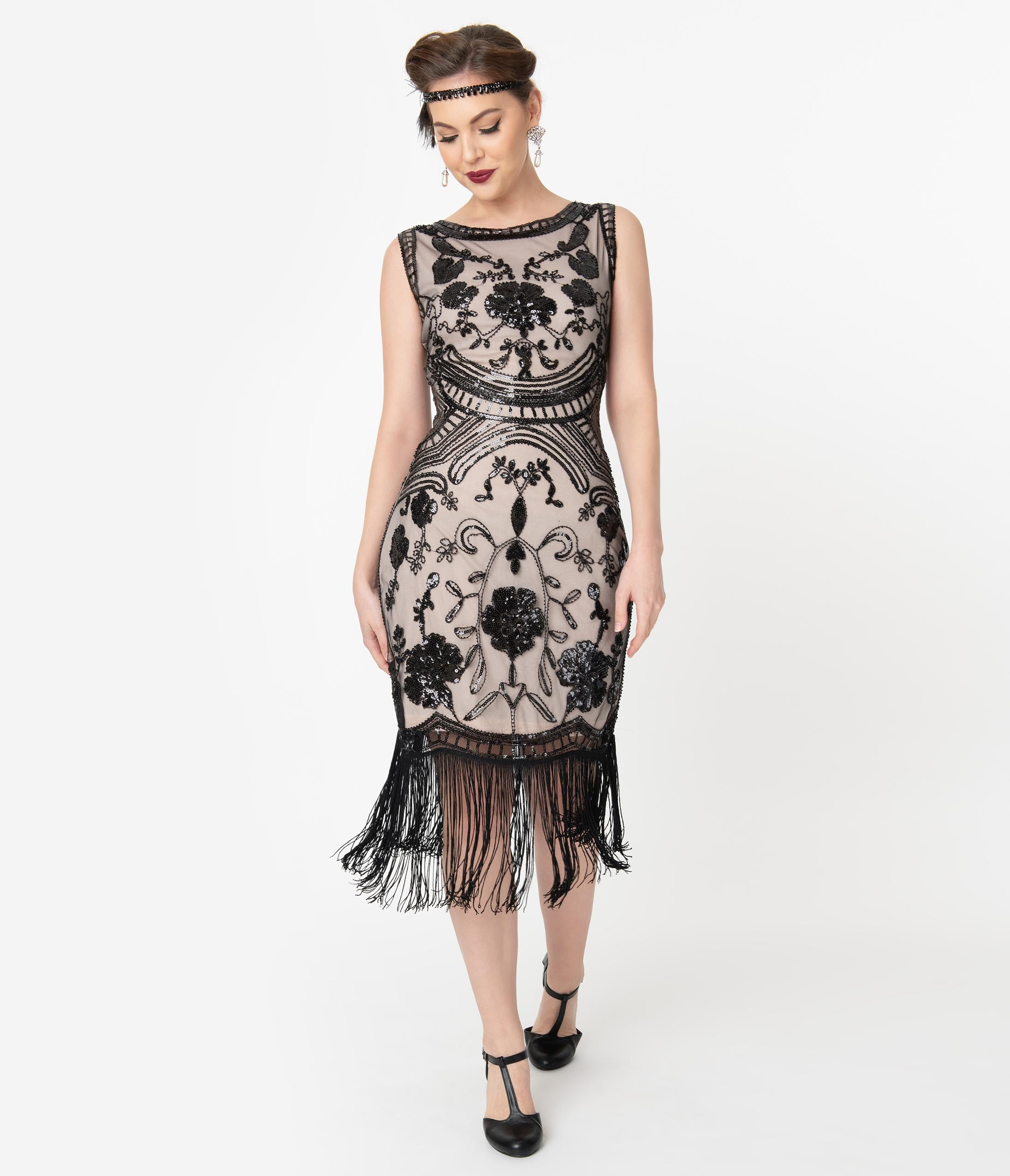 Best 1920s Prom Dresses – Great Gatsby Style Gowns Unique Vintage 1920S Style Blush Pink  Black Sequin Isabeau Cocktail Dress $98.00 AT vintagedancer.com