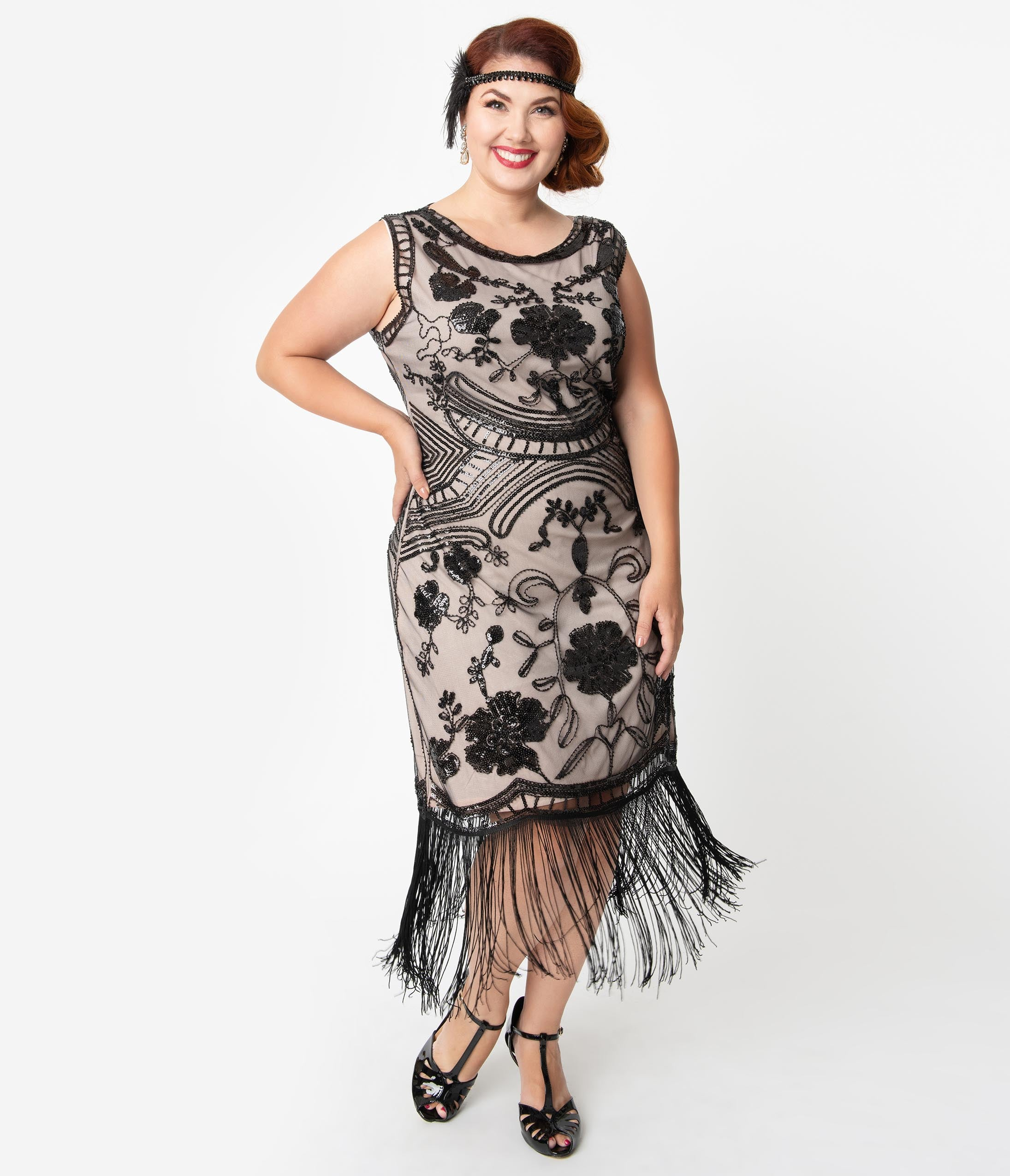 1920s Plus Size Flapper Dresses, Gatsby Dresses, Flapper Costumes Unique Vintage Plus Size 1920S Style Blush Pink  Black Sequin Isabeau Cocktail Dress $98.00 AT vintagedancer.com