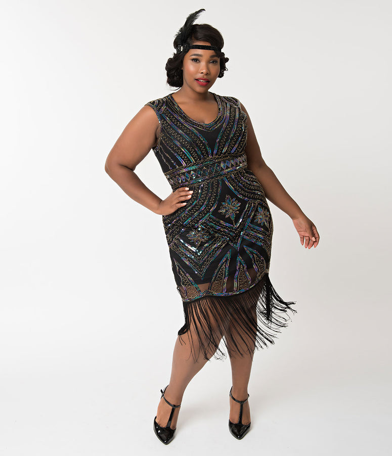 Unique Vintage Plus Size 1920s Black & Iridescent Sequin Moll Flapper Dress
