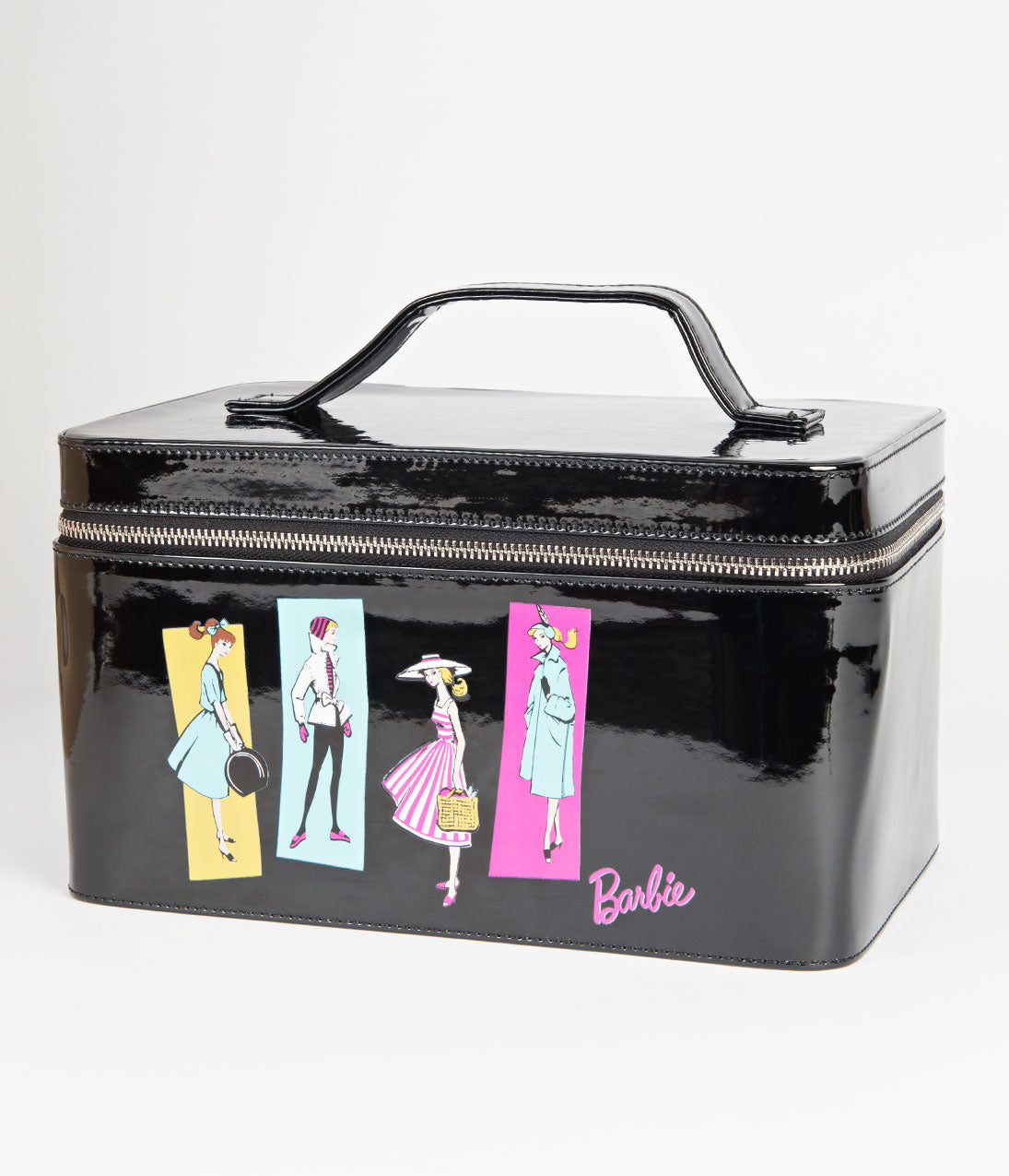 2ddd5ee0b17f Barbie X Unique Vintage Black Patent Leatherette   Illustration Train Case