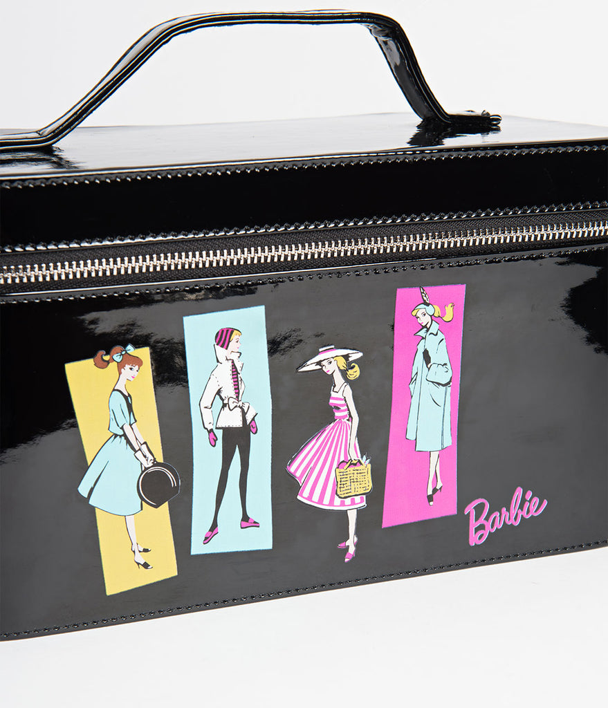 aeee5058a743 ... Barbie X Unique Vintage Black Patent Leatherette   Illustration Train  Case ...